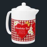 """Friendship Tea Recipe Teapots<br><div class=""""desc"""">A little teapot covered with bright white daisies, red hearts and golden butterflies especially to make Friendship Tea for a delightful and meaningful gift. Includes recipe for Friendship Tea and a special thinking of you verse. All text may be personalized in template provided. If you have your own special recipe...</div>"""