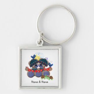 Friendship Teddybears (customized) Silver-Colored Square Keychain