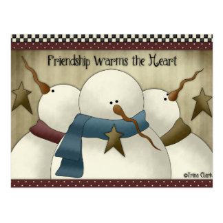 Friendship Warms the Heart Snowmen Postcards