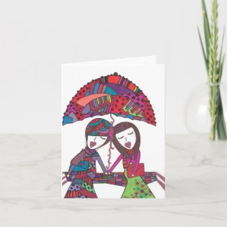 friendship with umbrella. greeting cards