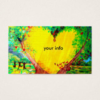 friendship yellow heart business card