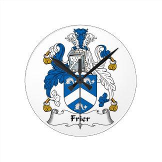 Frier Family Crest Round Clock