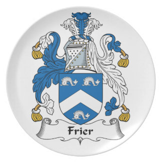 Frier Family Crest Party Plate