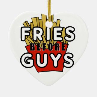 Fries before guys ceramic ornament