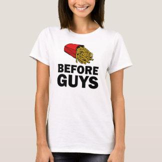 Fries before Guys funny women's shirt