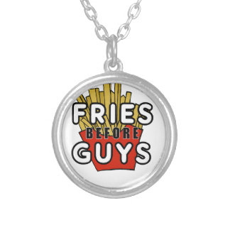 Fries before guys round pendant necklace