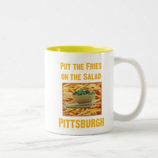 fries on salad Two-Tone coffee mug