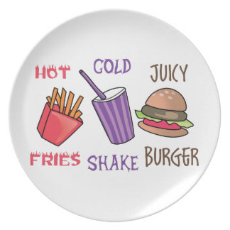 Fries Shake Burger Party Plates