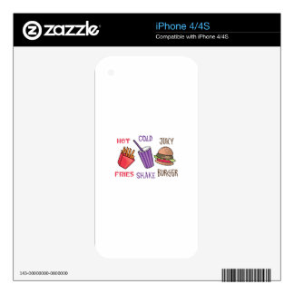 Fries Shake Burger Decals For The iPhone 4S