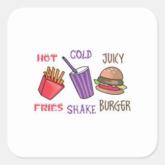 Fries Shake Burger Square Sticker