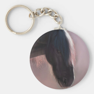 Friesian Basic Round Button Keychain