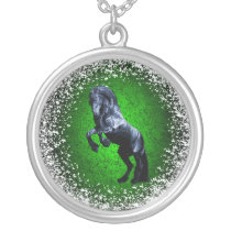 Friesian, black beauty stallion, snow, green silver plated necklace