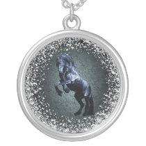 Friesian, black beauty stallion, snow, grey silver plated necklace