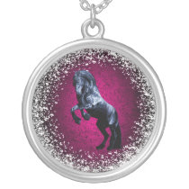 Friesian, black beauty stallion, snow, pink silver plated necklace