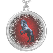 Friesian, black beauty stallion, snow, red silver plated necklace