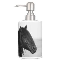 Friesian Black Stallion Horse Bathroom Set