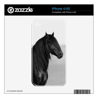 Friesian black stallion horse decals for iPhone 4