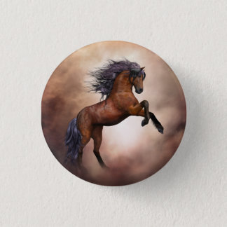 Friesian brown horse rearing up with misty clouds button