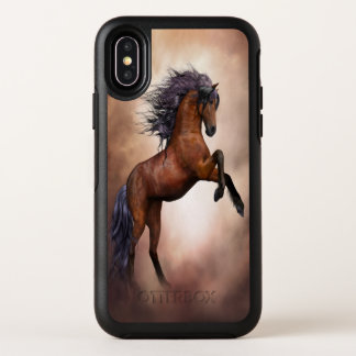 Friesian brown horse rearing up with misty clouds OtterBox symmetry iPhone x case