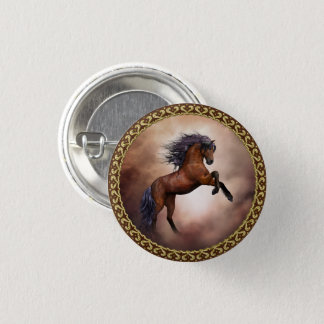 Friesian brown horse rearing up with misty clouds pinback button