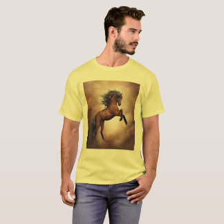 Friesian brown horse rearing up with misty clouds T-Shirt