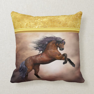 Friesian brown horse rearing up with misty clouds throw pillow