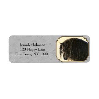 Friesian Draft Horse Silver Gray Label