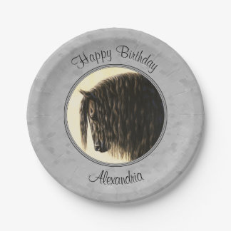 Friesian Draft Horse Silver Gray Paper Plate