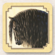 Friesian Draft Horse Yellow Beverage Coaster