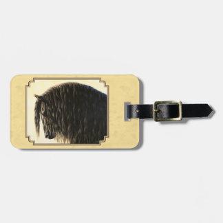 Friesian Draft Horse Yellow Luggage Tag