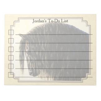 Friesian Draft Horse Yellow Notepad