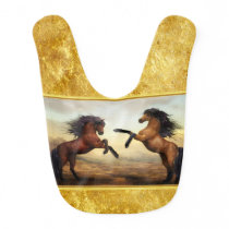 Friesian Draft Horses in a rocky mountain valley Baby Bib