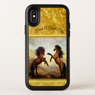 Friesian Draft Horses in a rocky mountain valley OtterBox Symmetry iPhone X Case