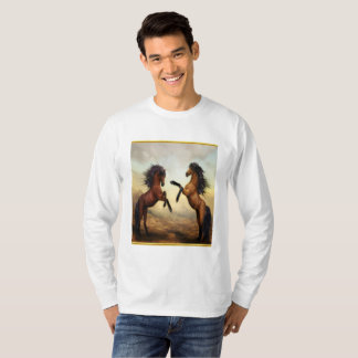 Friesian Draft Horses in a rocky mountain valley T-Shirt