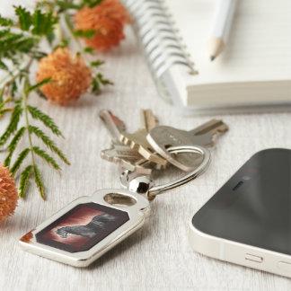 Friesian Fire Silver-Colored Rectangular Metal Keychain