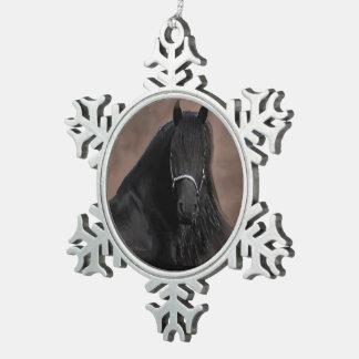 Friesian Flair Snowflake Pewter Christmas Ornament