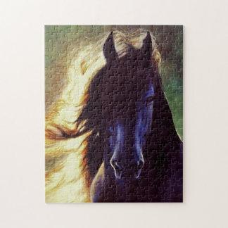 """Friesian Glow"" black horse, stallion Jigsaw Puzzle"