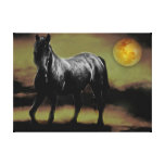 Friesian horse and moon fantasy canvas prints