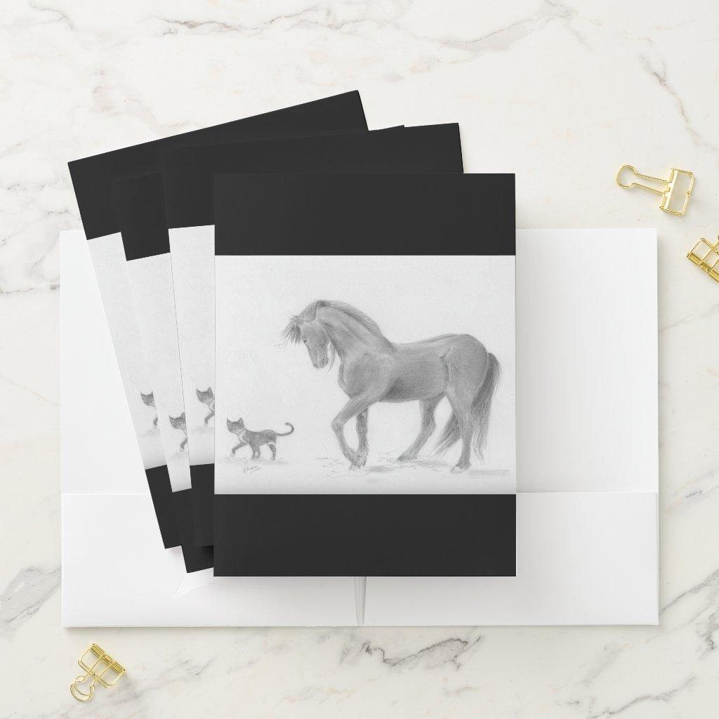 Friesian Horse and Tuxedo Cat Pocket Folder