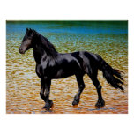 Friesian horse at the lake poster
