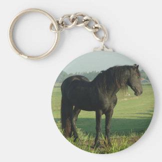 Friesian Horse Basic Round Button Keychain