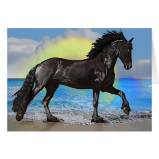 Friesian Horse Beach Stationery Note Card
