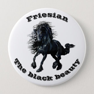Friesian horse, black beauty stallion button