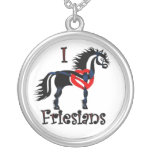 Friesian horse, celtic design silver plated necklace