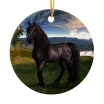 Friesian Horse Custom Art Ceramic Ornament