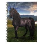Friesian Horse Custom Art Spiral Notebooks