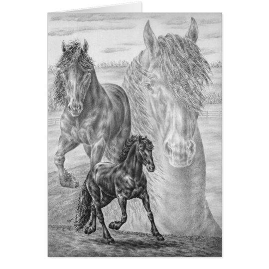 Friesian Horse Drawing by Kelli Swan Card
