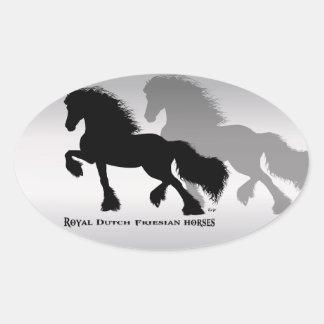 Friesian Horse frieze horse Oval Stickers