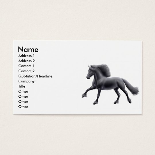 Friesian Horse Galloping Business Card