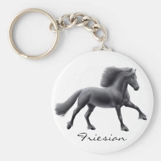 Friesian Horse Galloping Keychain
